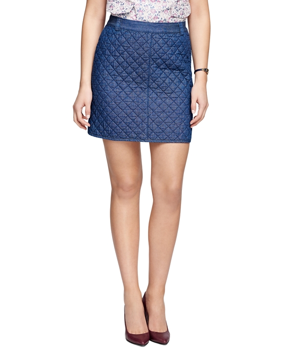 Cotton Quilted Skirt Blue