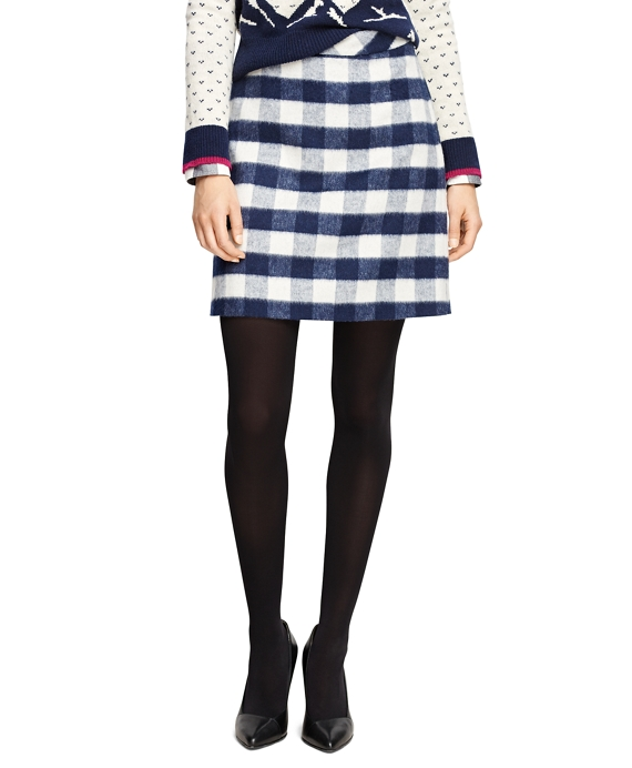 Wool Blend Buffalo Check Pencil Skirt
