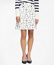 Cotton Nautical Print Skirt