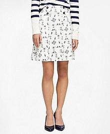Cotton Nautical Print Skirt