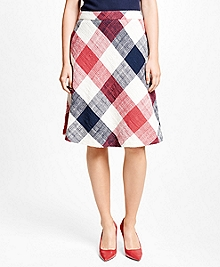 Cotton Blend Gingham Skirt