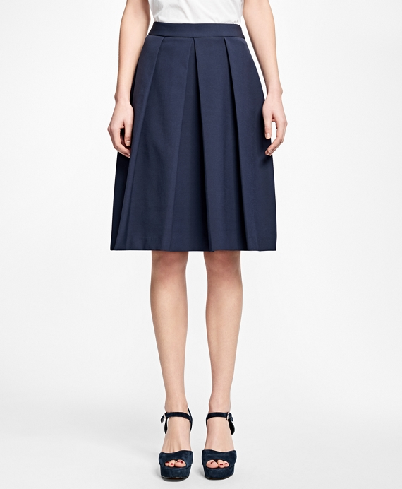 Stretch-Cotton Pleated Skirt