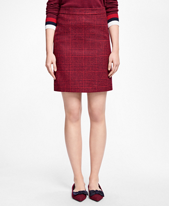 Wool Houndstooth A-Line Skirt