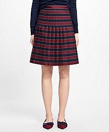 Wool Pleated Stripe Skirt