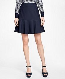 Stretch Wool Ruffle Skirt