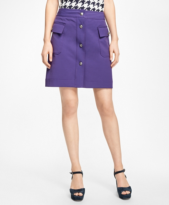 Double-Faced Button-Front Skirt Purple