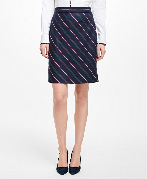 Striped Wool A-Line Skirt - Brooks Brothers