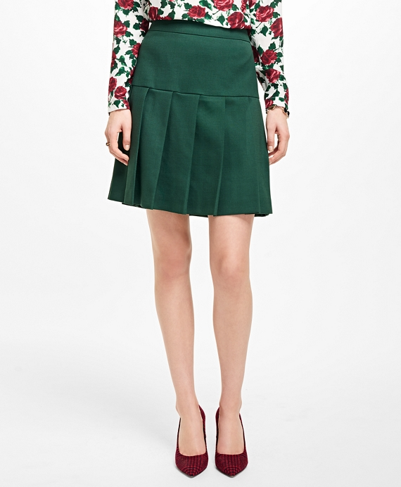Wool-Blend Pleated Skirt Dark Green