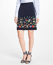 Floral Embroidered Stretch-Twill Skirt