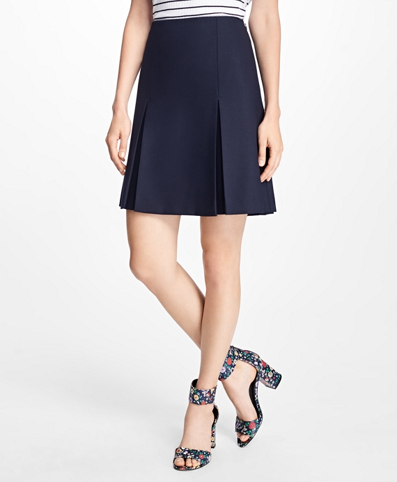 Stretch Wool Inverted-Pleat Skirt Navy
