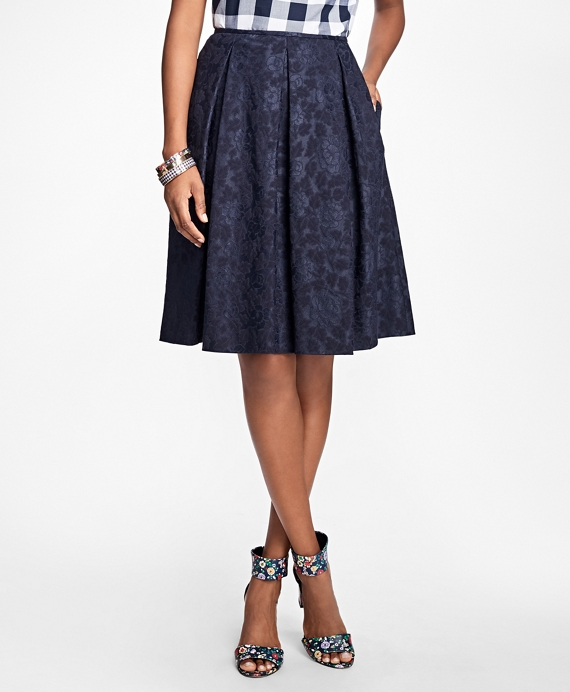 Floral Jacquard Pleated Skirt Navy