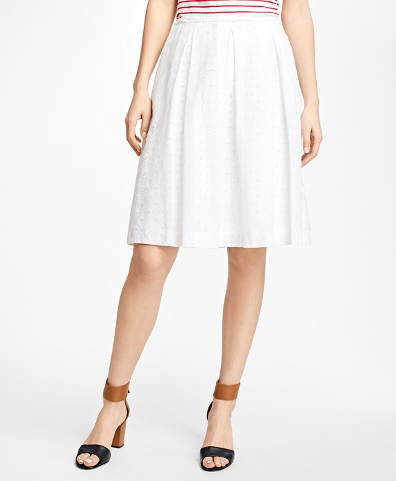 Pleated Cotton Eyelet Skirt White