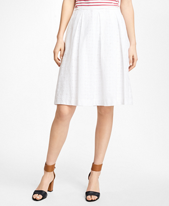 Pleated Cotton Eyelet Skirt