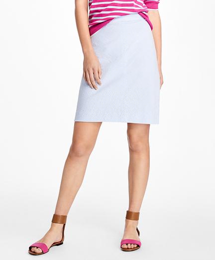 Striped Seersucker A-Line Skirt