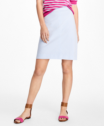 Striped Seersucker A-Line Skirt