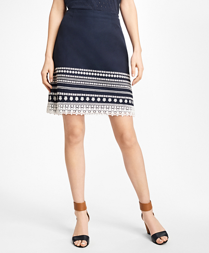 Embroidered Cotton Canvas Skirt