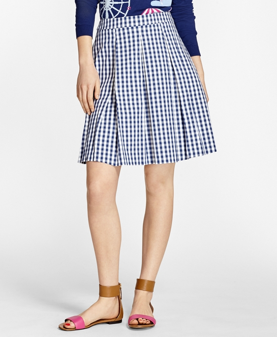 Gingham Stretch-Cotton Pleated Skirt Blue