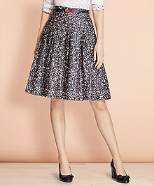 Pleated Floral-Print Cotton Sateen Skirt