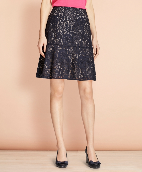 Floral Lace Skirt Navy
