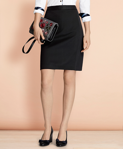 Stretch Wool Pencil Skirt