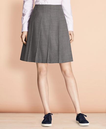 Pleated Wool-Blend Twill Skirt