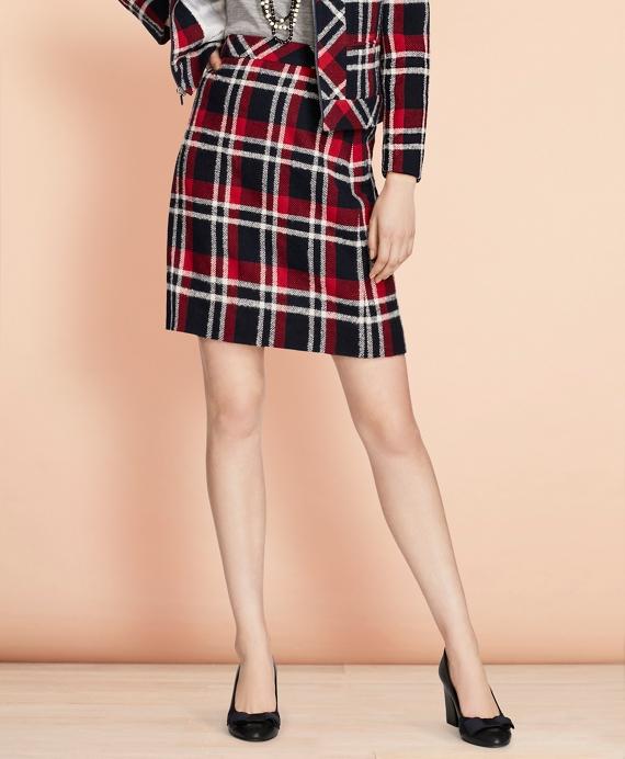Plaid Wool-Blend A-Line Skirt