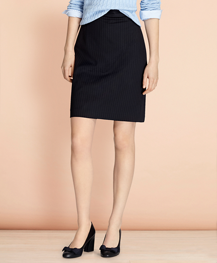 Pinstripe Stretch Wool Pencil Skirt