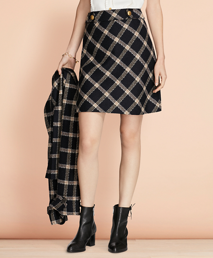 Windowpane Wool Boucle Skirt
