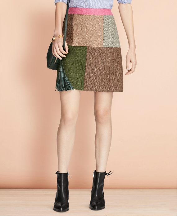 Patchwork Tweed Skirt Multi
