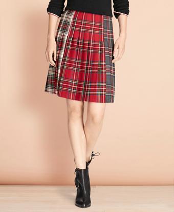 Mixed-Tartan Wool Pleated Skirt