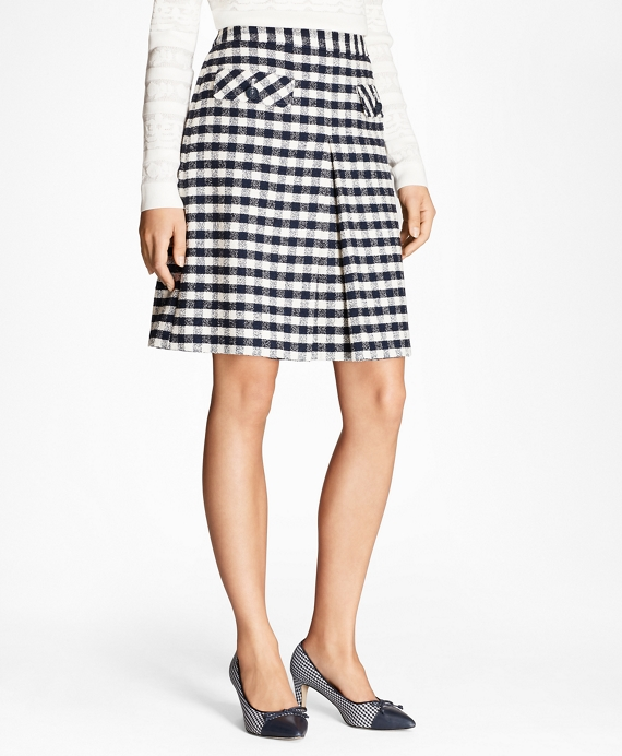 Gingham Boucle Skirt Navy