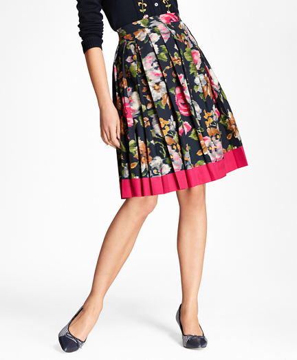 Brooks Brothers Floral-Print Cotton Sateen Pleated Skirt