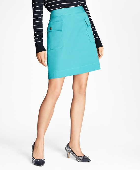 Double-Faced Cotton-Blend Skirt Teal