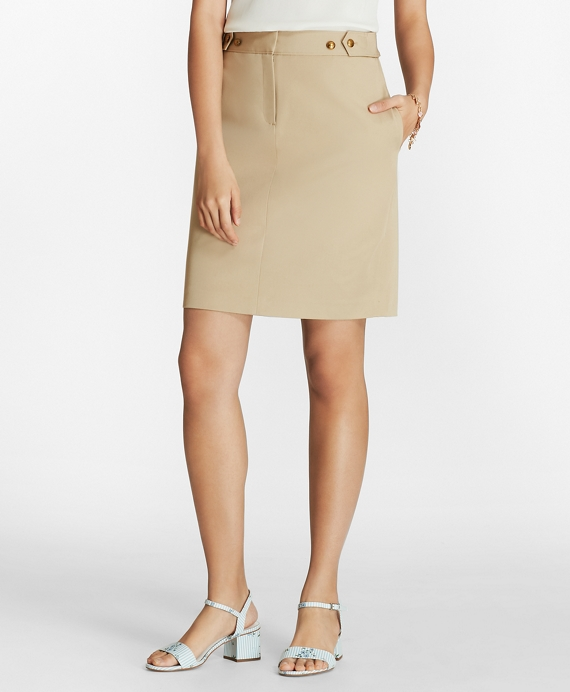 Stretch Cotton Twill Pencil Skirt Khaki