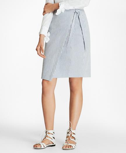 Striped Stretch Cotton Seersucker Wrap Skirt