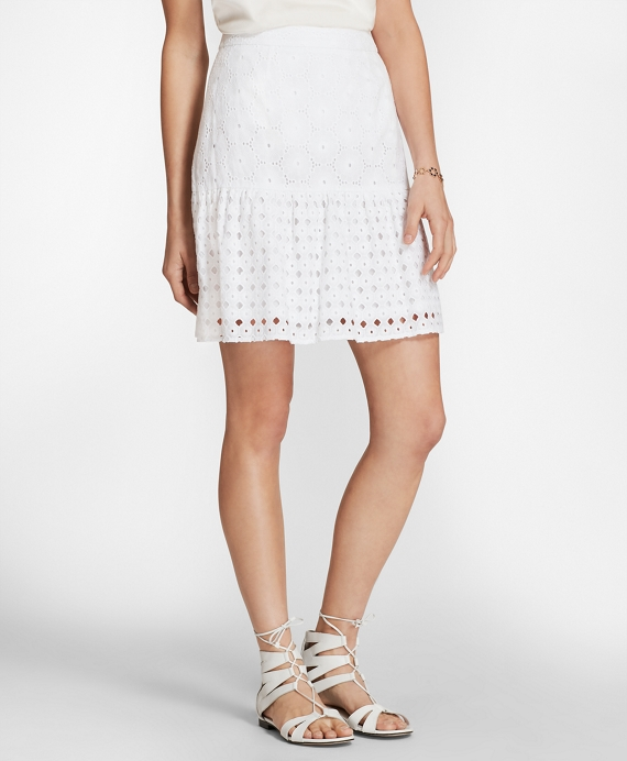 Cotton Eyelet Flounce Skirt White