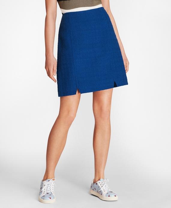 Cotton Boucle A-Line Skirt Blue