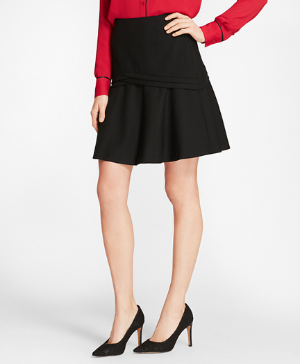 Stretch Wool-Blend Flounce Skirt