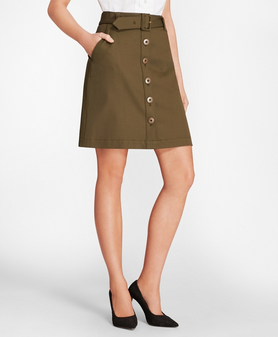 Stretch Cotton-Twill Button-Front A-Line Skirt Dark Green