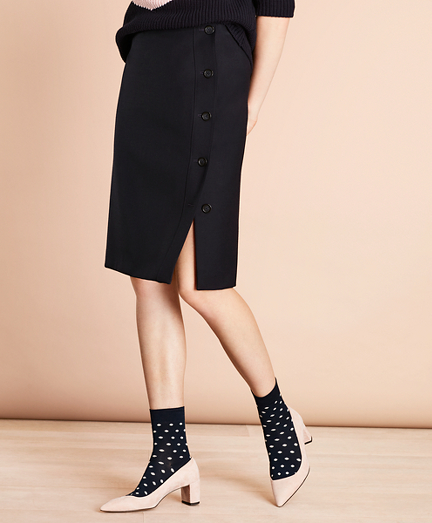 Wool-Blend Crepe Wrap Skirt
