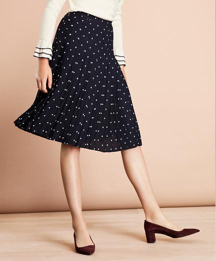 Polka-Dot Crepe Accordion-Pleated Wrap Skirt