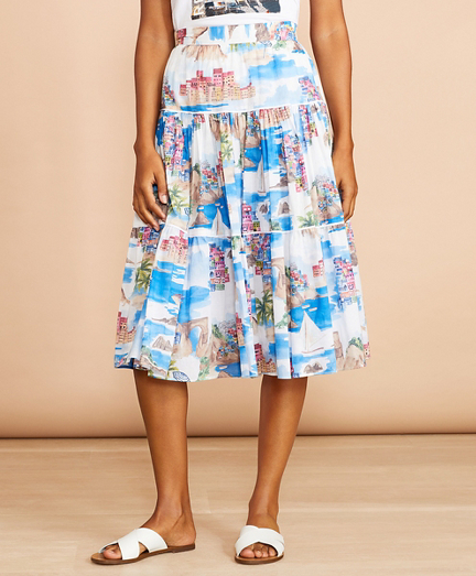 Costal-Print Cotton Midi Skirt