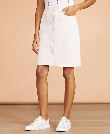 Stretch-Cotton Sateen Button-Front Skirt
