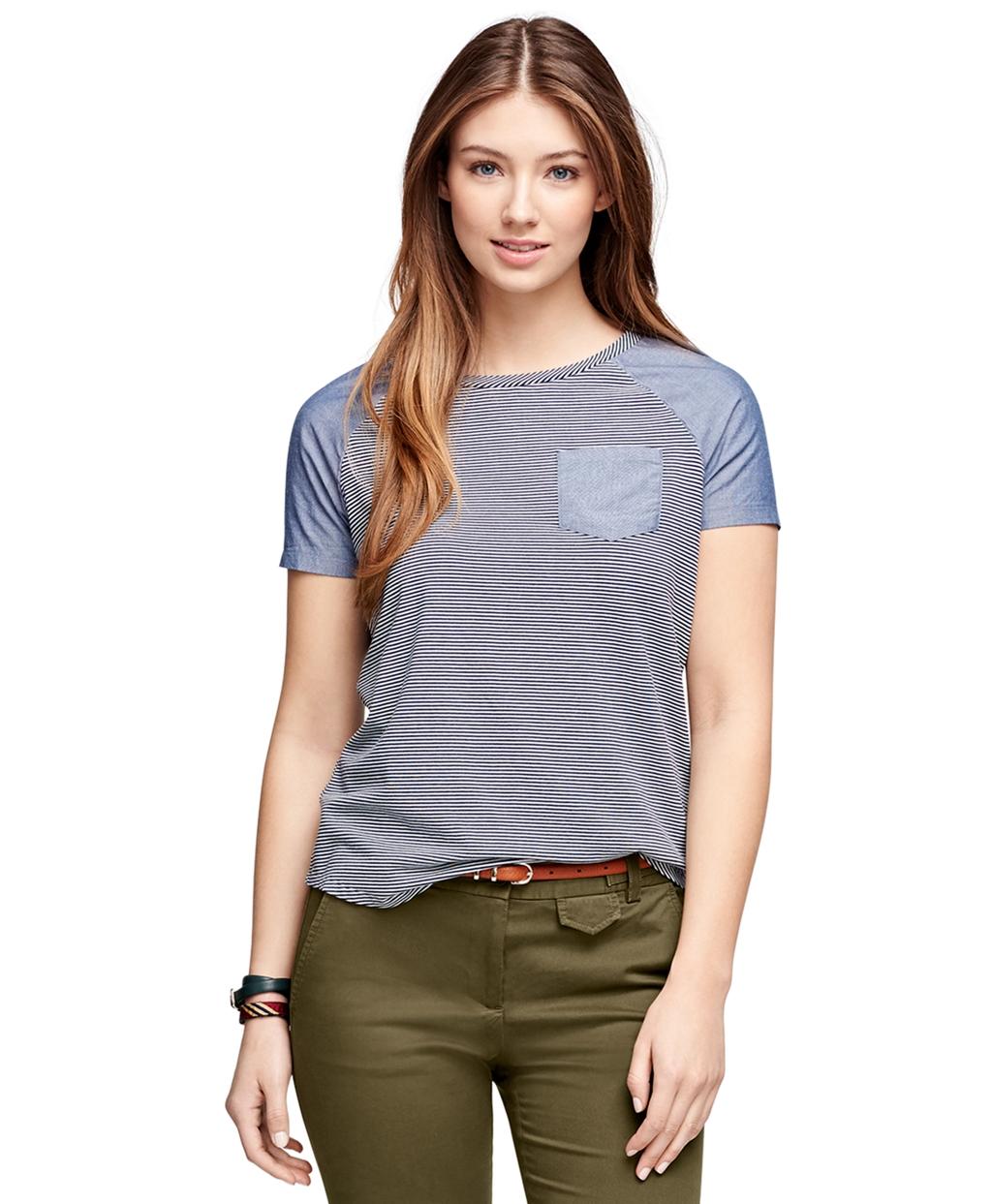 5696d325f15c Womens Short Sleeve Chambray Shirt