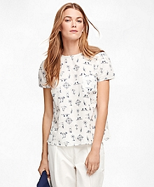 Short-Sleeve Cotton Nautical Print Shirt