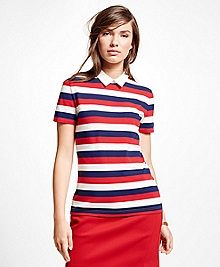 Short-Sleeve Stripe Cotton Pique Knit