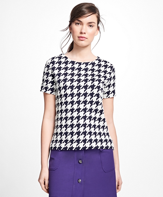Jacquard Houndstooth Top Navy-White