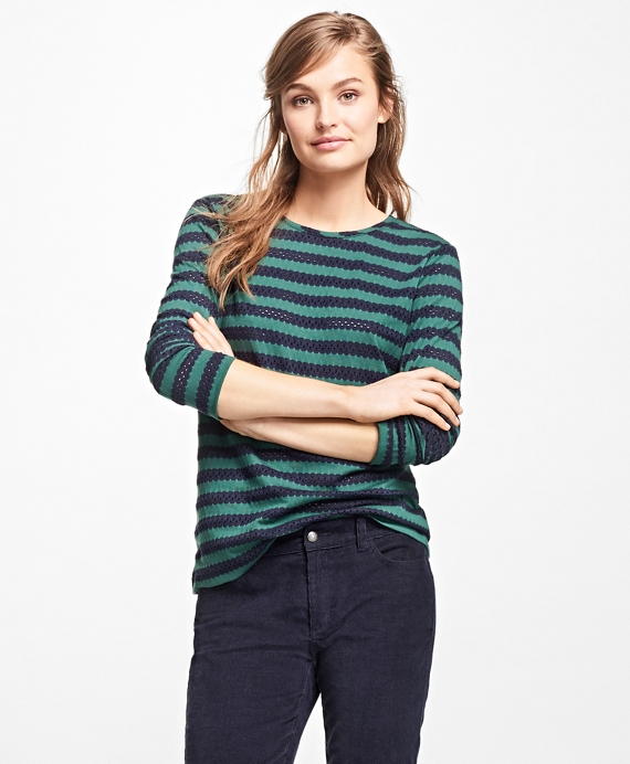 Striped Jacquard Eyelet Top Green