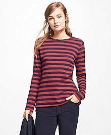 Striped Jacquard Eyelet Top