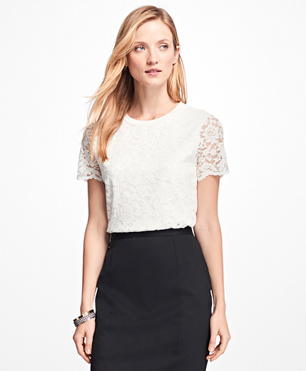 Short-Sleeve Jersey Lace Top